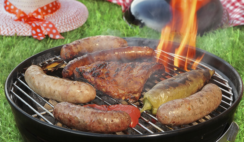 Summer BBQ Grill Picnic Concept Top View